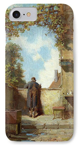 Old Man On The Terrace IPhone Case by Carl Spitzweg