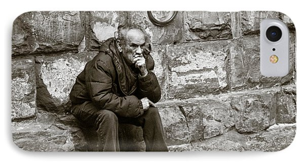Old Man Pondering Phone Case by Susan Schmitz