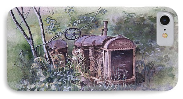 IPhone Case featuring the painting Old Mccormick Tractor by Susan Crossman Buscho