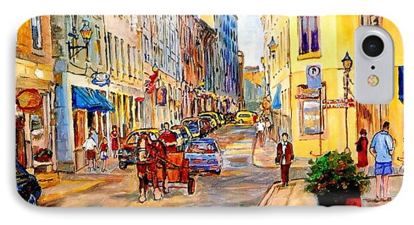 Old Montreal Paintings Youville Square Rue De Commune Vieux Port Montreal Street Scene  IPhone Case by Carole Spandau