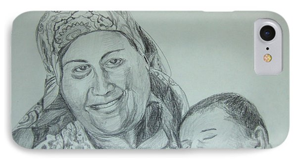 Old Mother With New Baby Phone Case by Esther Newman-Cohen