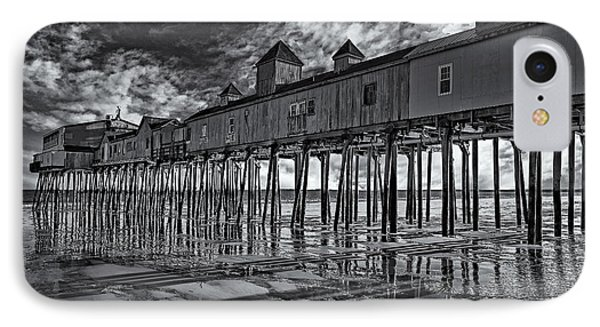 Old Orchard Beach Pier Bw IPhone Case by Susan Candelario