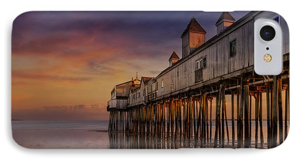 Old Orchard Beach Pier Sunset IPhone Case by Susan Candelario