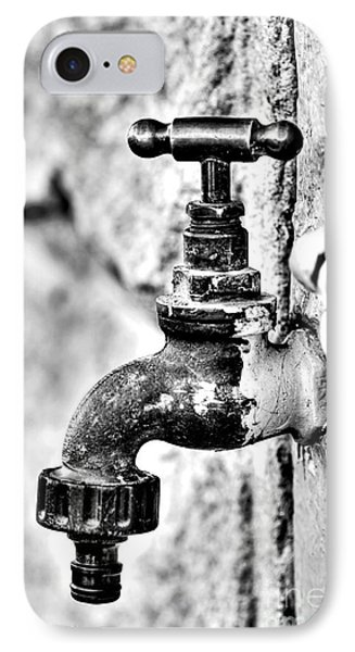 Old Outdoor Tap - Black And White Phone Case by Kaye Menner