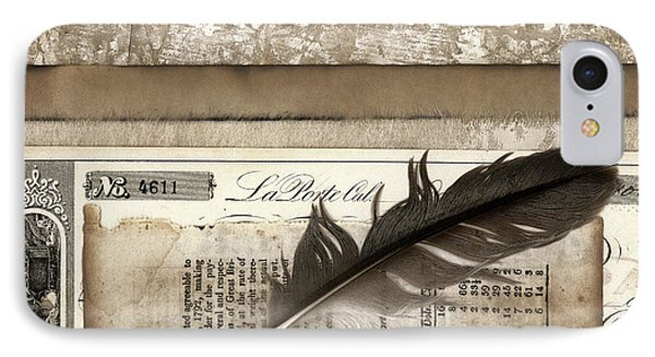 Old Papers And A Feather IPhone Case by Carol Leigh