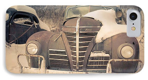 Old Plymouth Classic Car In The Snow IPhone Case by Edward Fielding