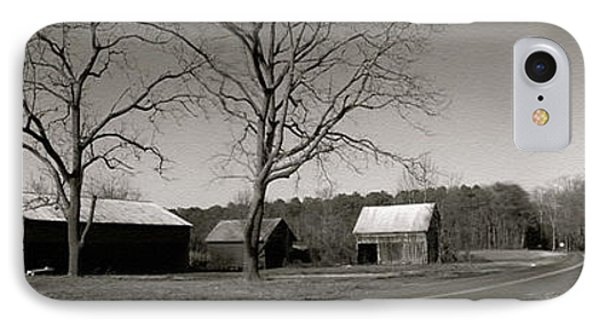 Old Red Barn In Black And White Long IPhone Case by Amazing Photographs AKA Christian Wilson
