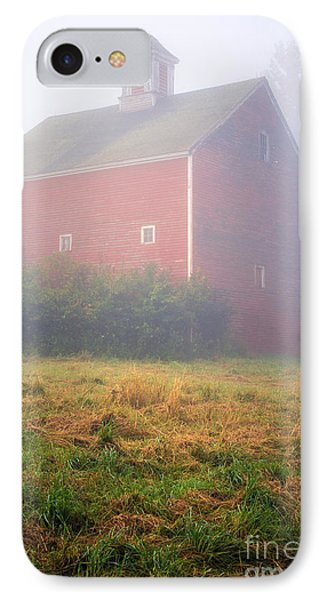 Old Red Barn In Fog IPhone Case by Edward Fielding