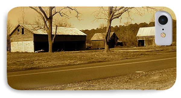 Old Red Barn In Sepia IPhone Case by Amazing Photographs AKA Christian Wilson