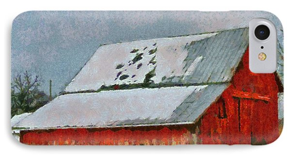 Old Red Barn In Winter IPhone Case