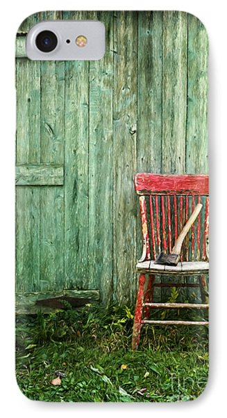 Old Red Chair Near A Barn/digital Oil Painting IPhone Case by Sandra Cunningham