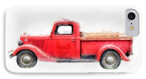 Old Red Ford Pickup IPhone Case by Edward Fielding