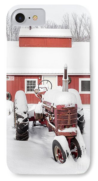 Old Red Tractor In Front Of Classic Sugar Shack IPhone Case by Edward Fielding