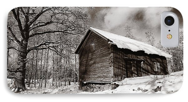 IPhone Case featuring the photograph Old Rural Barn In A Winter Landscape by Christian Lagereek