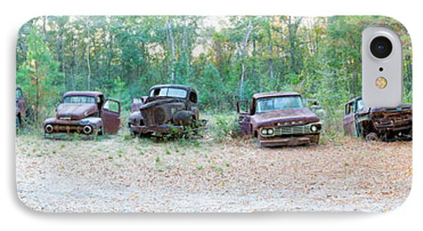 Old Rusty Cars And Trucks In A Field IPhone Case by Panoramic Images