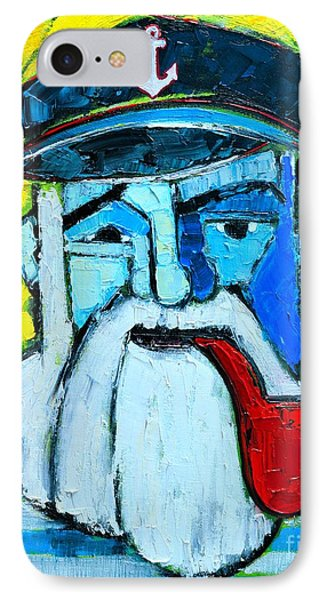 Old Sailor With Pipe Expressionist Portrait IPhone Case by Ana Maria Edulescu
