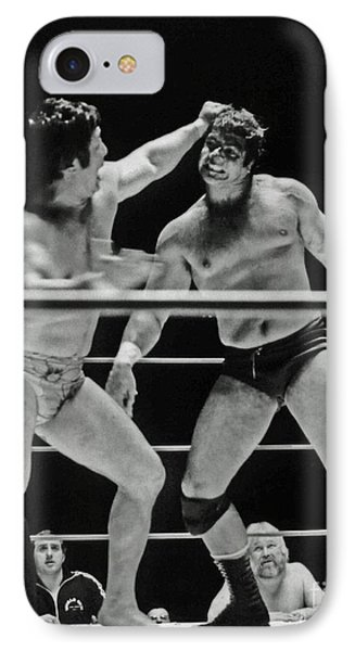 IPhone Case featuring the photograph Old School Wrestlers Dean Ho And Don Muraco Battling It Out In The Middle Of The Ring by Jim Fitzpatrick