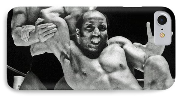 IPhone Case featuring the pyrography Old School Wrestling Arm Lock By Tony Rocco On Sir Earl Maynard by Jim Fitzpatrick