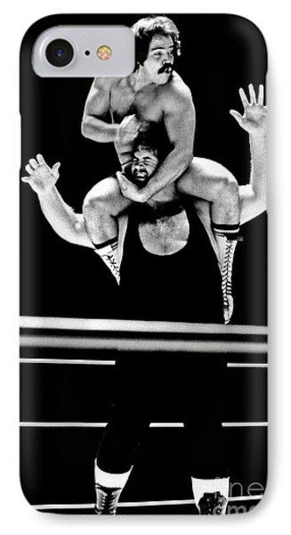 IPhone Case featuring the photograph Old School Wrestling Piggyback Ride By Mando Guerrero by Jim Fitzpatrick