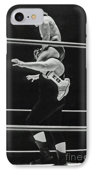 IPhone Case featuring the photograph Old School Wrestling Piggyback Ride II With Mando Guerrero  by Jim Fitzpatrick