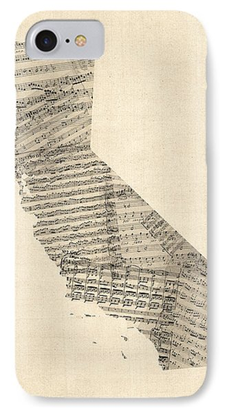 Old Sheet Music Map Of California Phone Case by Michael Tompsett