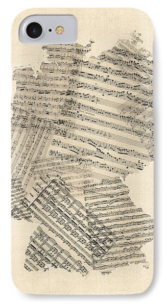 Old Sheet Music Map Of Germany Map IPhone Case by Michael Tompsett