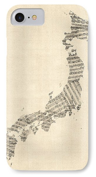 Old Sheet Music Map Of Japan IPhone Case