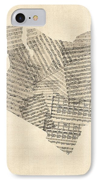 Old Sheet Music Map Of Kenya Map IPhone Case by Michael Tompsett