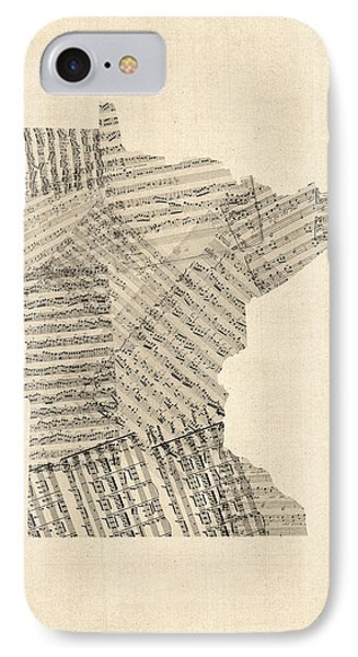 Old Sheet Music Map Of Minnesota IPhone Case by Michael Tompsett