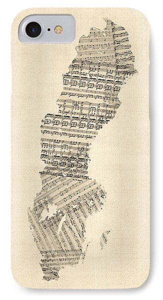 Old Sheet Music Map Of Sweden IPhone Case