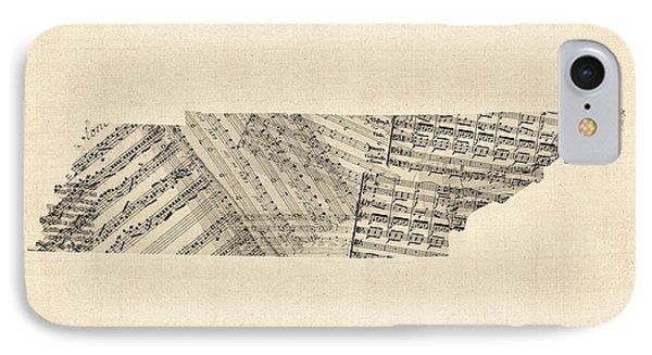 Old Sheet Music Map Of Tennessee IPhone Case by Michael Tompsett