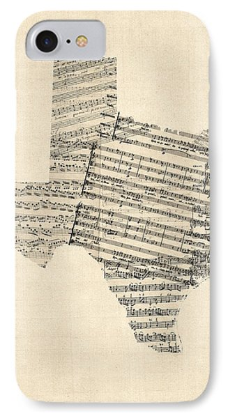 Dallas iPhone 7 Case - Old Sheet Music Map Of Texas by Michael Tompsett