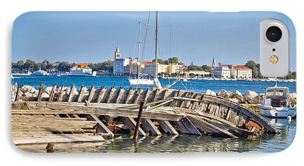 Old Sinked Wooden Ship In Zadar IPhone Case