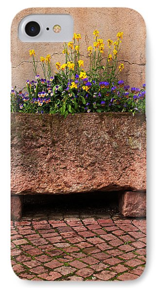 Old Stone Trough And Flowers In Alsace France Phone Case by Greg Matchick