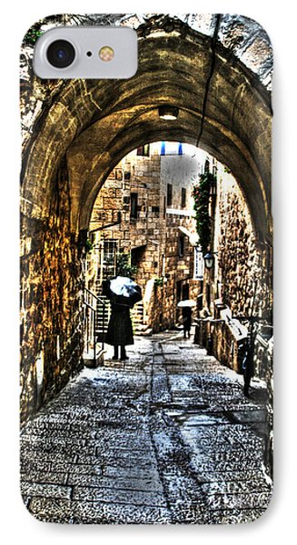 IPhone Case featuring the photograph Old Street In Jerusalem by Doc Braham
