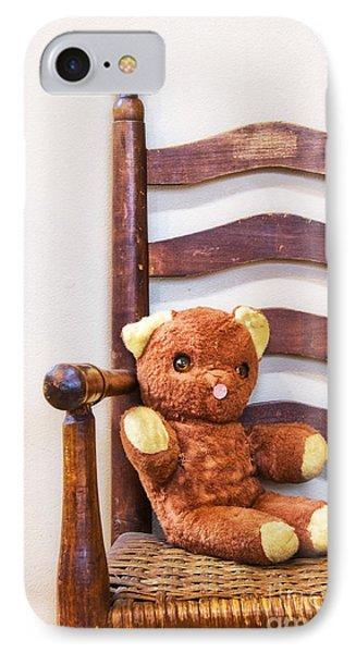 Old Teddy Bear Sitting In Chair Phone Case by Birgit Tyrrell