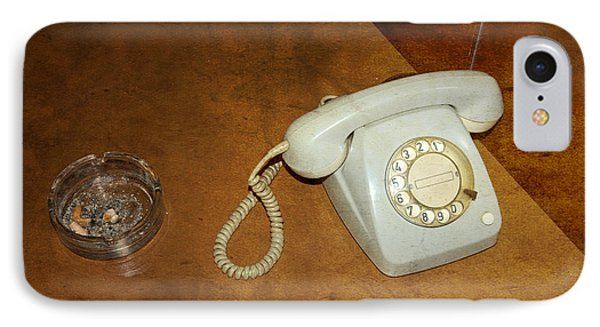 Old Telephone And Ashtray On Brown Table Phone Case by Matthias Hauser