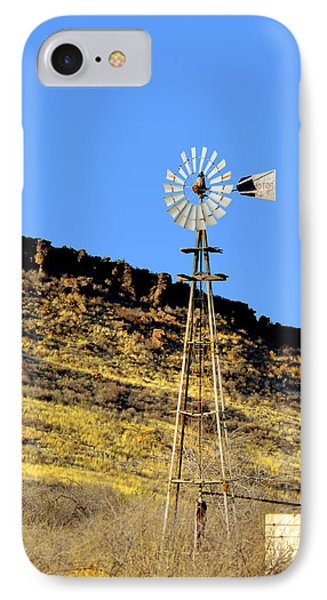Old Texas Farm Windmill IPhone Case by Christine Till