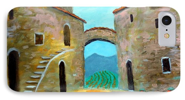 IPhone Case featuring the painting Old Town Of Tuscany by Larry Cirigliano