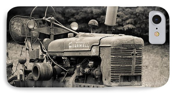 Old Tractor Black And White Square IPhone Case by Edward Fielding