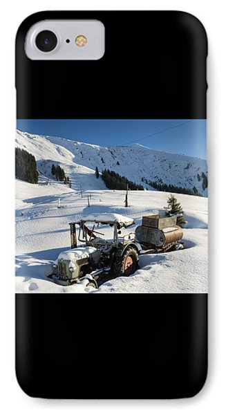 Old Tractor In Winter With Lots Of Snow Waiting For Spring Phone Case by Matthias Hauser