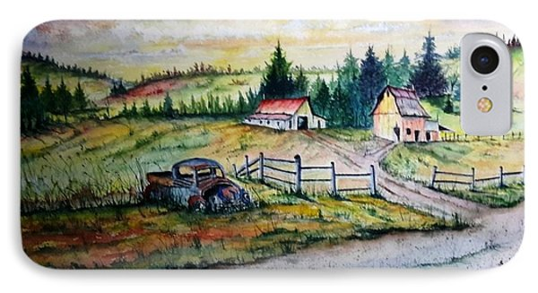 IPhone Case featuring the painting Old Truck And Barns by Richard Benson