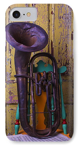Old Tuba And Yellow Door IPhone Case by Garry Gay
