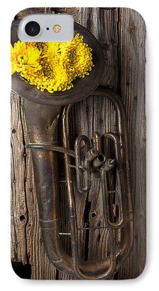 Old Tuba And Yellow Mums Phone Case by Garry Gay