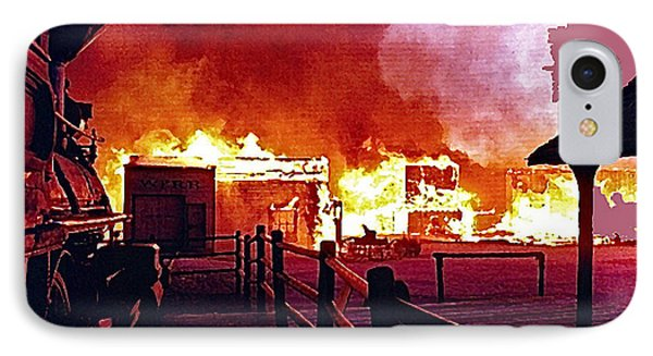 Old Tucson In Flames IPhone Case by David Lee Guss