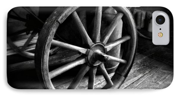 Old Wagon Wheel Black And White IPhone Case