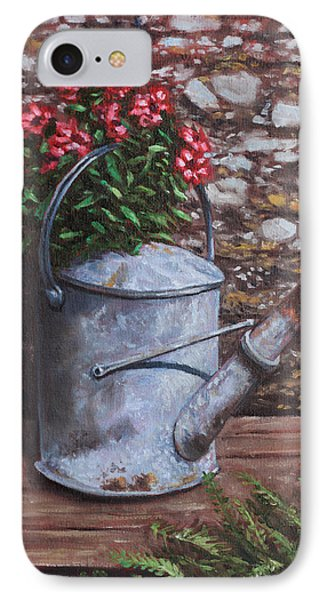 Old Watering Can With Flowers By Stone Wall IPhone Case