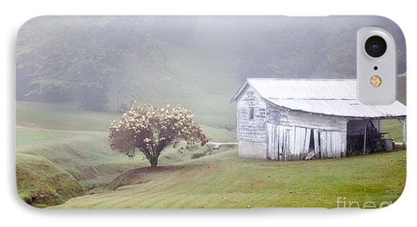 Old Weathered Wooden Barn In Morning Mist IPhone Case