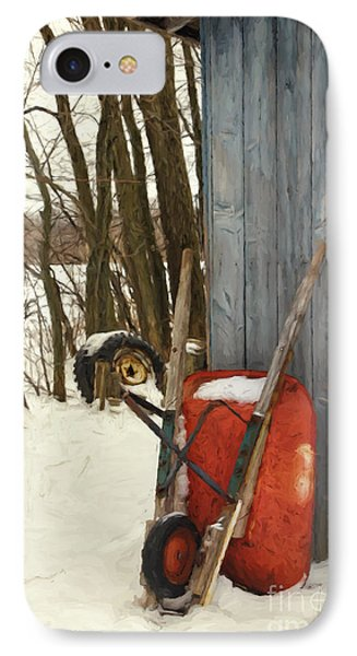 Old Wheelbarrow Leaning Against Barn/ Digital Painting IPhone Case by Sandra Cunningham