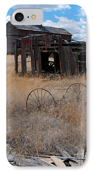 IPhone Case featuring the photograph Old Wheels And Barn by Kjirsten Collier